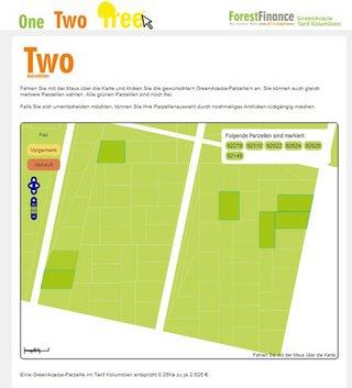 One – Two – Tree!: Bei ForestFinance können sich Investoren ihre persönliche GreenAcacia-Waldparzelle in Kolumbien auswählen.