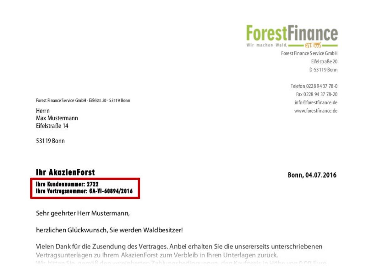Wo finde ich meine Kundennummer | ForestFinance